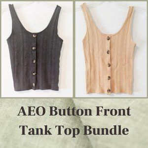 AEO Ribbed Knit Button Front Tank Top Bundle Of 2
